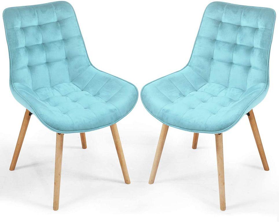 Sada prošívaných jídelních židlí, světle tyrkysové, 2 ks
