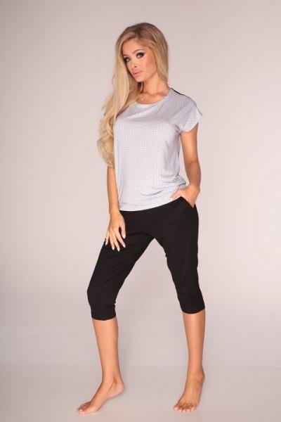 Dámské pyžamo 598 Rebecca - De Lafense - Černo - bílá/S