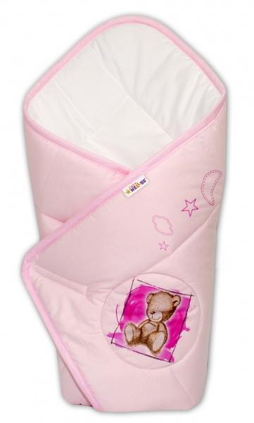 Novorozenecká zavinovačka, 75x75cm, bavlněná Sweet Dreams by Teddy - růžová