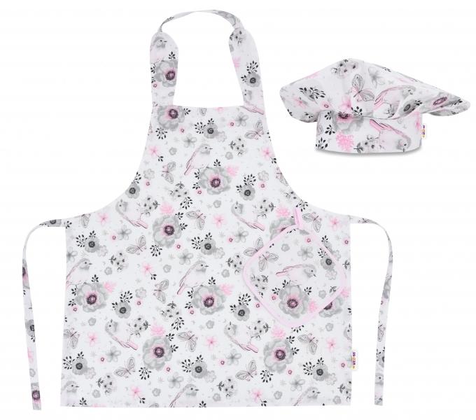 Kuchařská sada Junior MasterChef - zástěra + čepice + rukavice, růžová - ptáčci