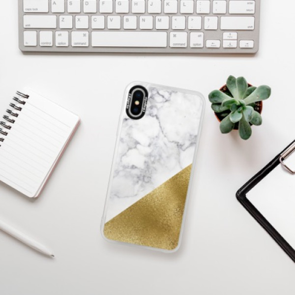 Neonové pouzdro Blue iSaprio - Gold and WH Marble - iPhone XS