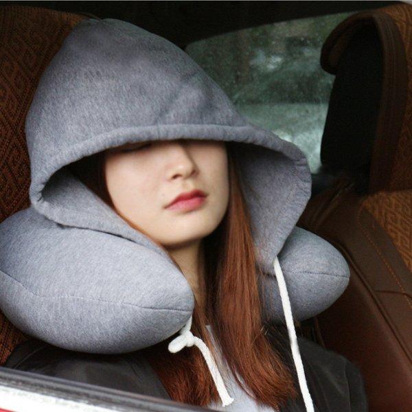 Cestovní polštář s kapucí - Šedá