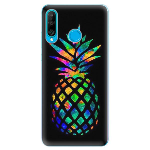 Odolné silikonové pouzdro iSaprio - Rainbow Pineapple - Huawei P30 Lite