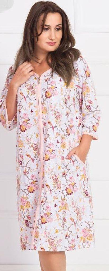 Dámské domácí šaty s tříčtvrtečním rukávem Laura - světle lososová