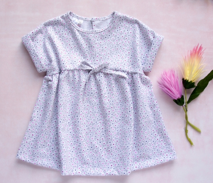 K-Baby Letní stylové dětské šatičky Květinky - šedá s mini
