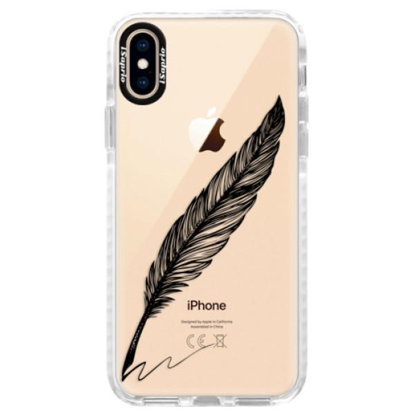 Silikonové pouzdro Bumper iSaprio - Writing By Feather - black - iPhone XS