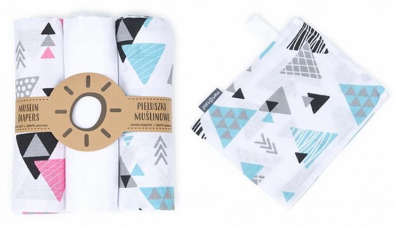 Mamo Tato Mušelínové plenky 3ks + žínka zdarma - trojuhelníky, bílá
