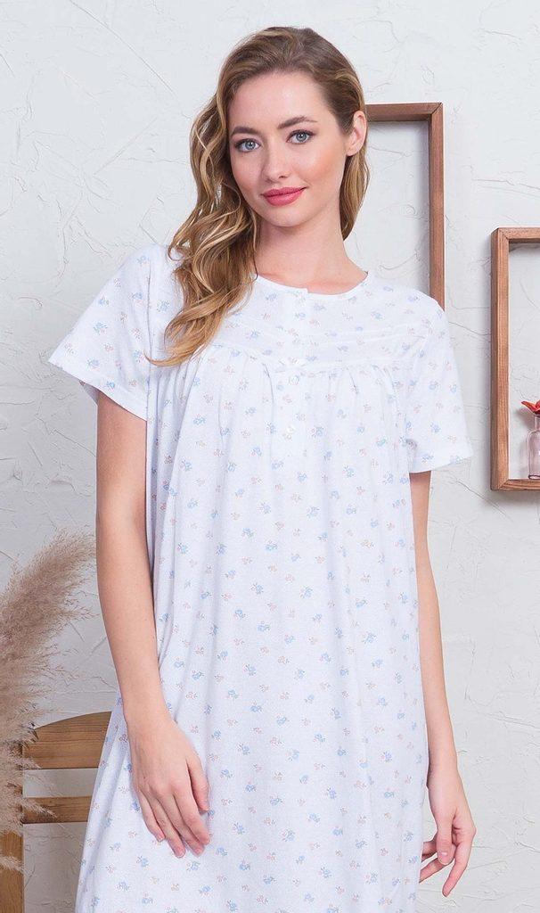 Dámská noční košile s krátkým rukávem Marika - modrá