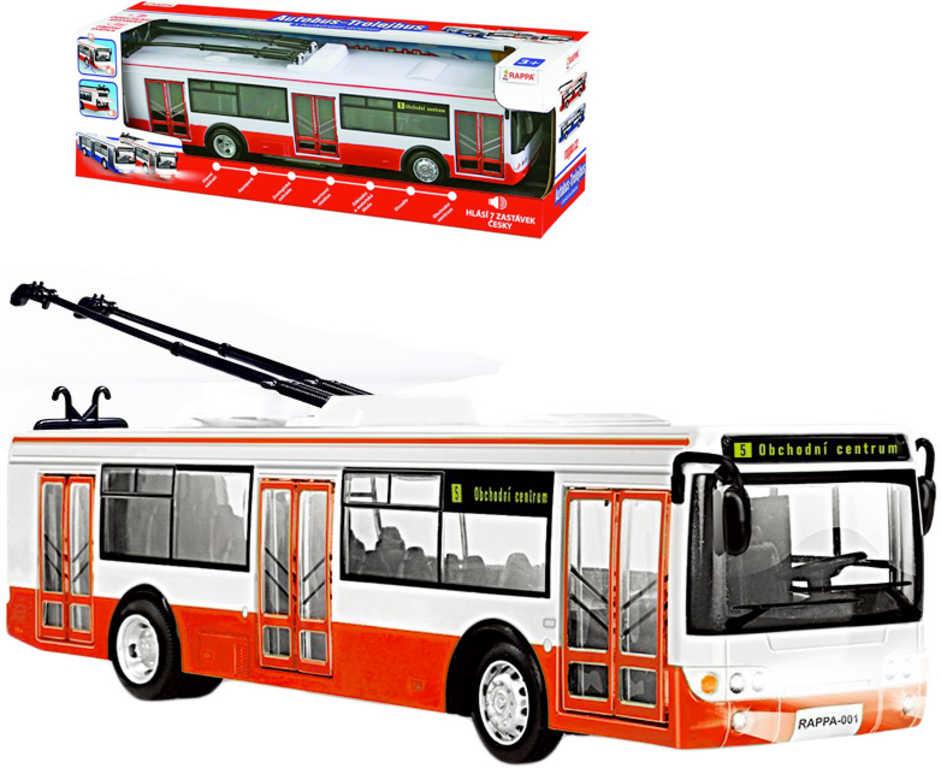 Trolejbus MHD 28cm česky hlásí zastávky funkční dveře na baterie CZ
