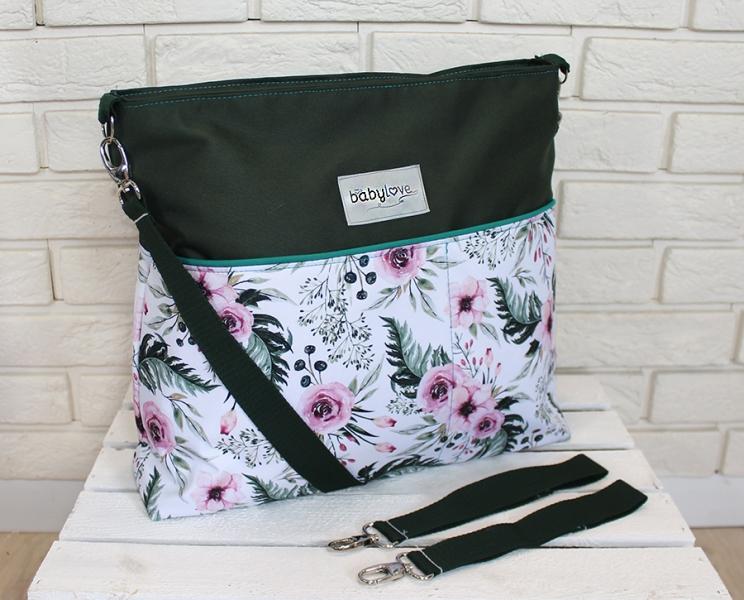 stylova-taska-na-kocarek-baby-nellys-hand-made-kvetinky-flowers-zelena-ce19