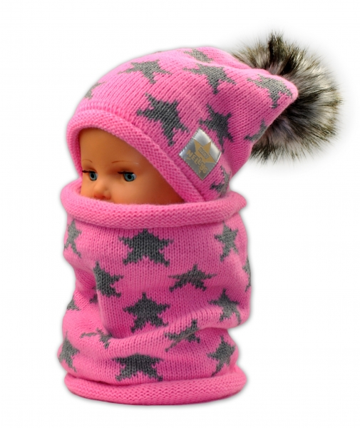 Podzimní/zimní čepice s komínkem - růžová - hvězdičky šedé - 42/54 čepička obvod