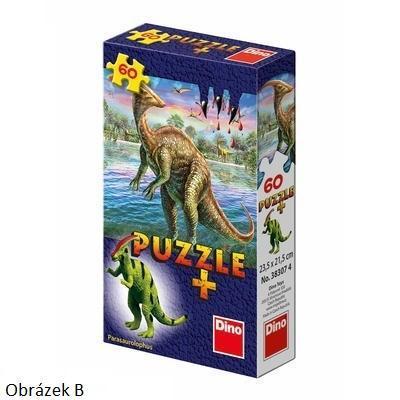 DINO Puzzle 60 dílků Dinosauři 6 druhů + figurka dinosaura