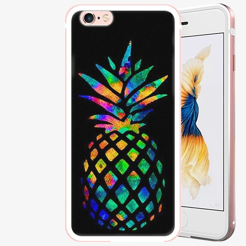 Plastový kryt iSaprio - Rainbow Pineapple - iPhone 6/6S - Rose Gold