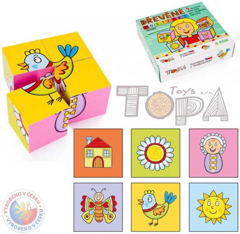 TOPA DŘEVO Kostky (kubus) Obrázky 4 ks v krabičce BABY *DŘEVĚNÉ HRAČKY*