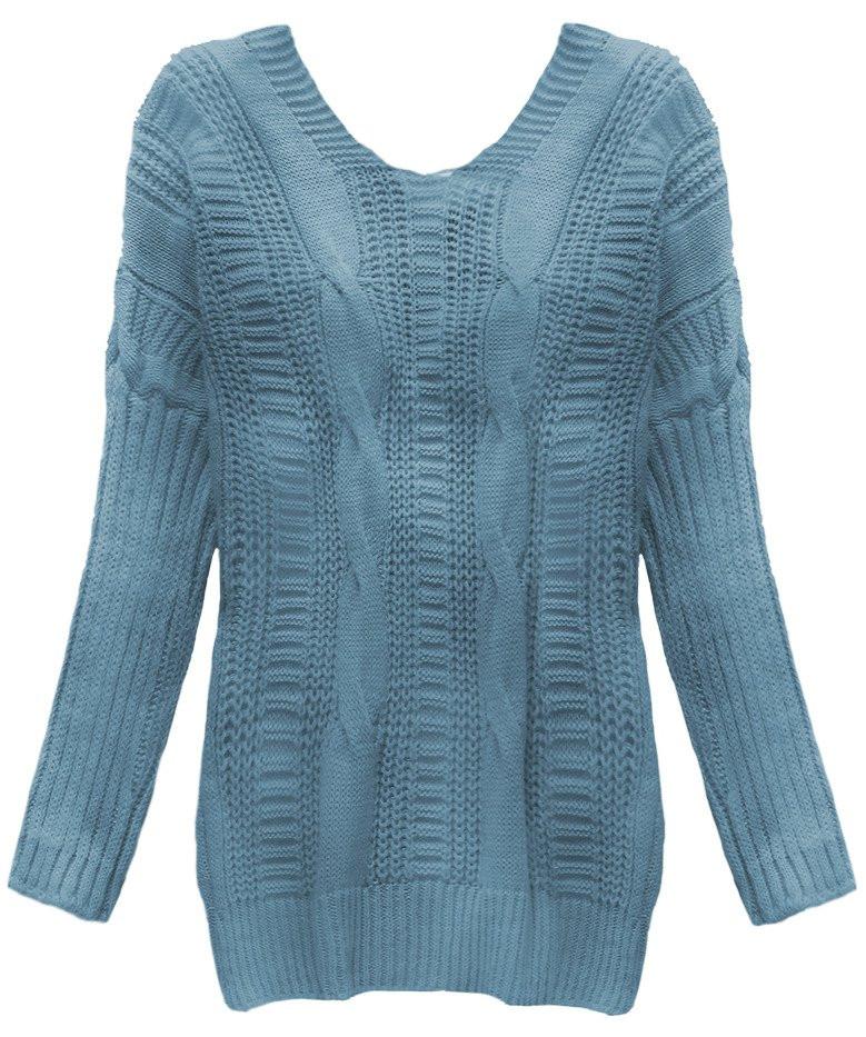 Světle modrý svetr s vázáním na zádech (183ART) - Modrá/ONE SIZE