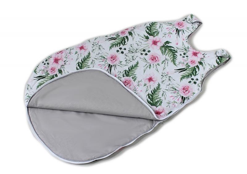 Bavlněný spací vak Květinky - vnitřek šedý, 48x80cm