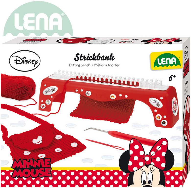 LENA Stůl pletací MINNNIE dětský plastový set s bavlnkou a doplňky v krabici