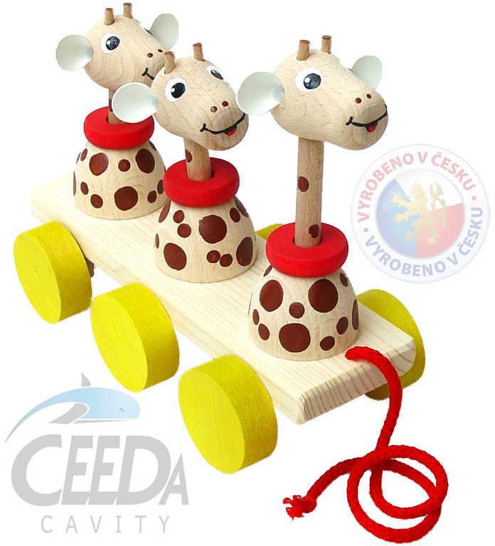 CEEDA DŘEVO 3 žirafy tahací pohyblivé *DŘEVĚNÉ HRAČKY*