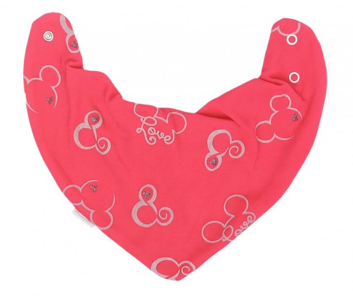 Mamatti Dětský šátek na krk Myška - tm. růžová - univerzální