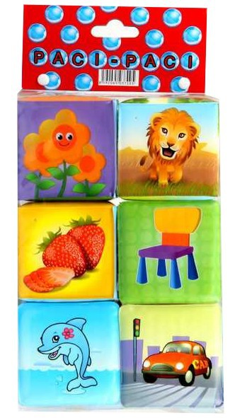 Kostky MĚKKÉ SOFT barevné pískací 6 ks v sáčku
