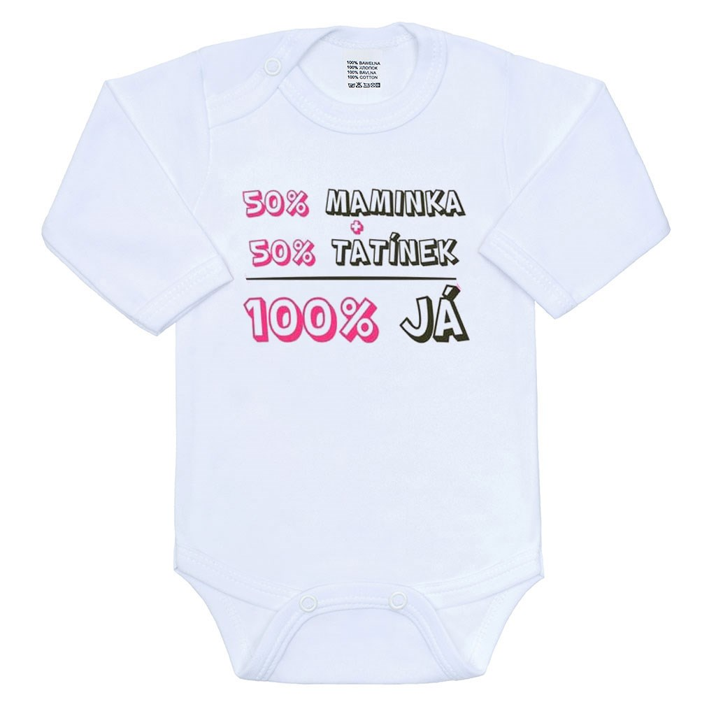 Body s potiskem New Baby 50% MAMINKA + 50% TATÍNEK - 100% JÁ