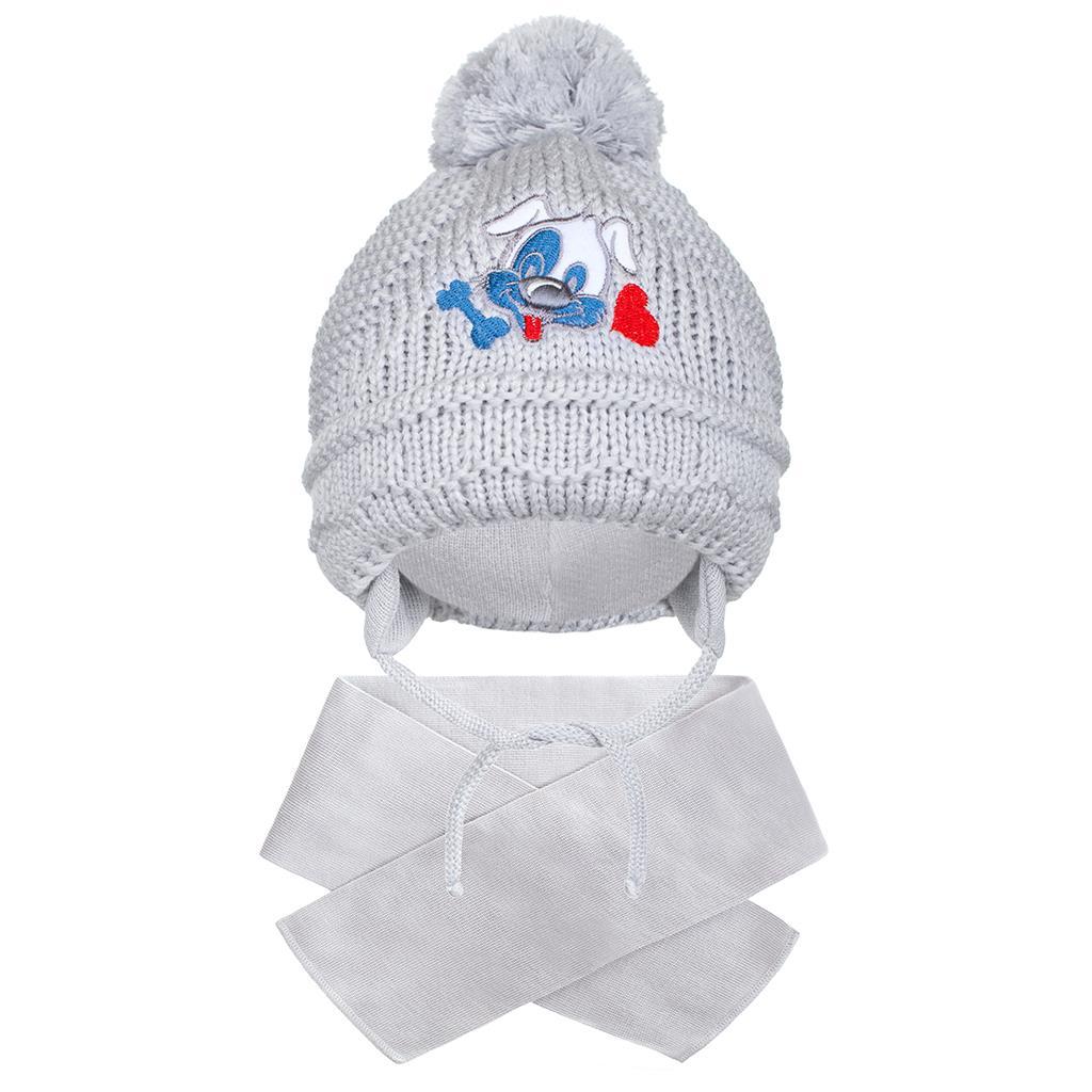 Zimní dětská čepička se šálou New Baby pejsek
