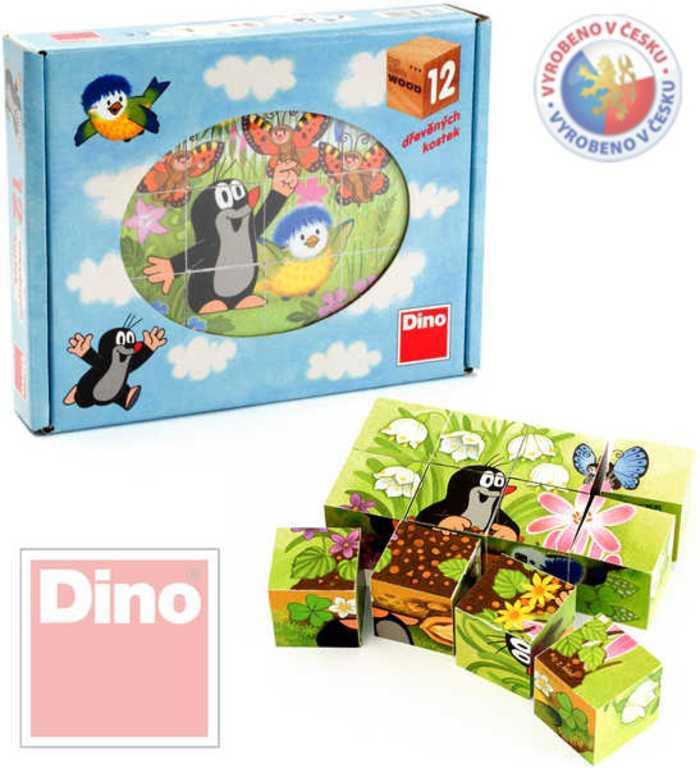 DINO Kubus (kostky) 12 ks Krtek (krteček) a ptáček