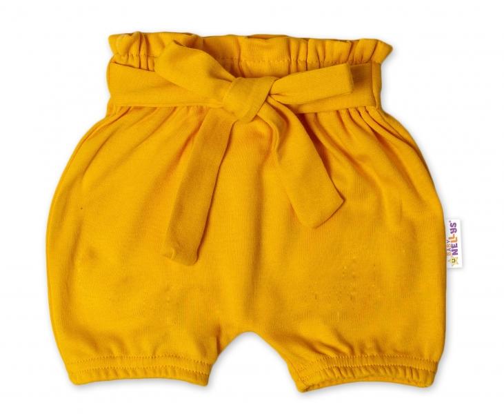 Baby Nellys Bavlněné kraťasy s ozdobným páskem