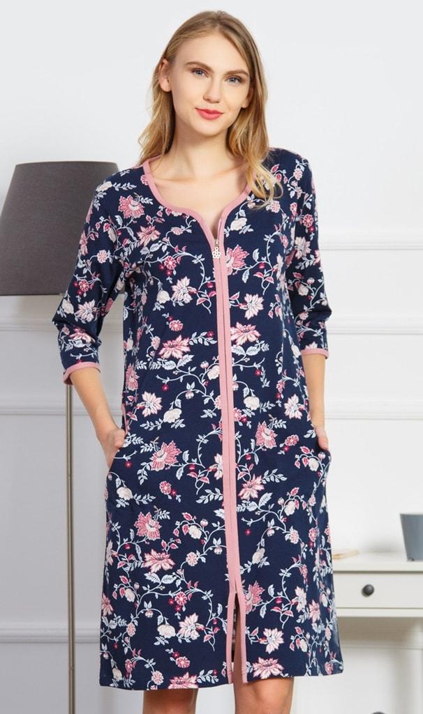 Dámské domácí šaty s tříčtvrtečním rukávem Alena - modrošedá - XL