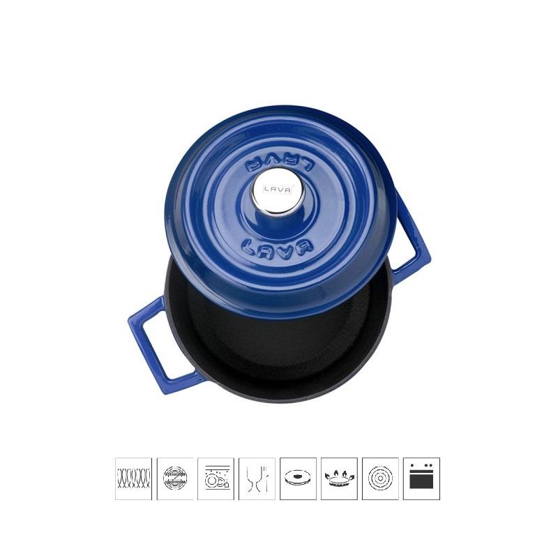 Litinový hrnec kulatý 14cm - modrý