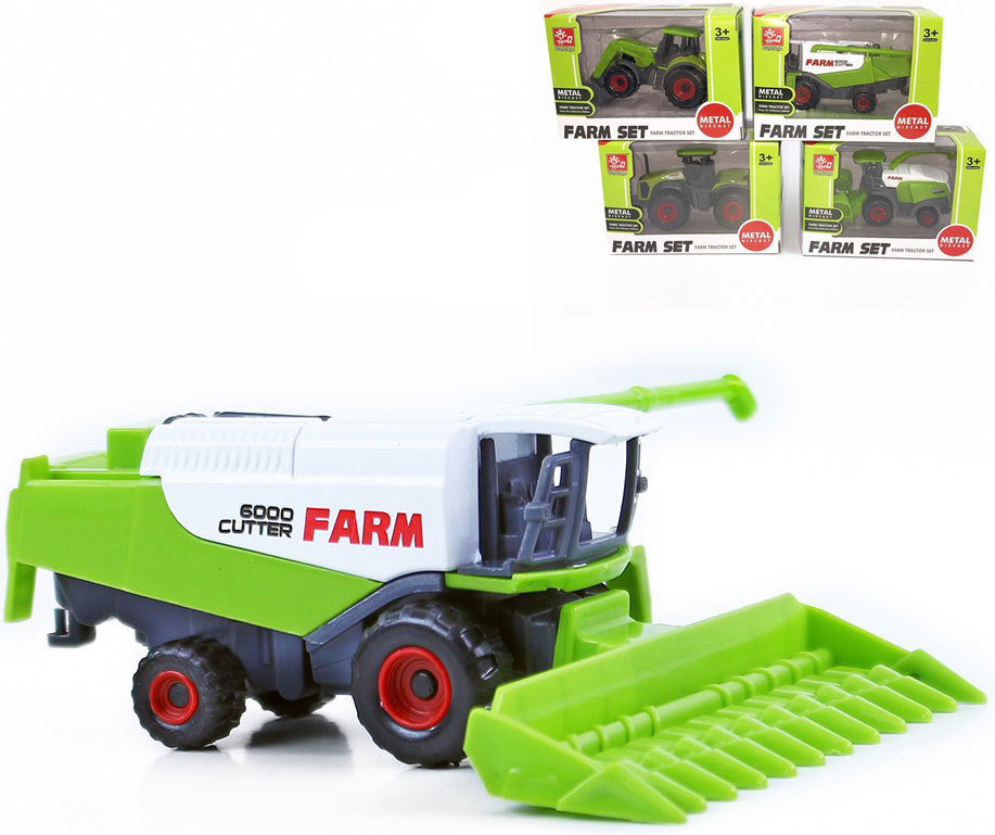 Kombajn / traktor kovový 8 cm volný chod - 4 druhy