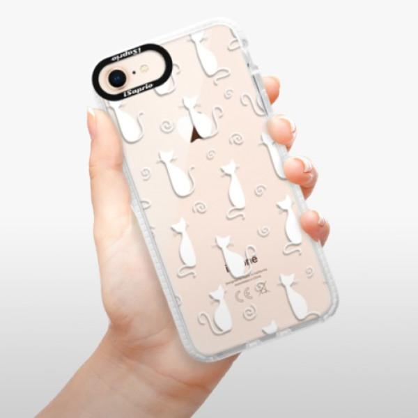 Silikonové pouzdro Bumper iSaprio - Cat pattern 05 - white - iPhone 8