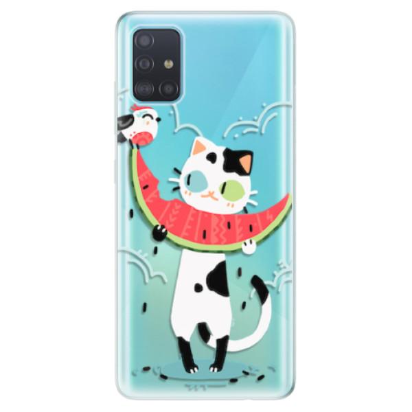 Odolné silikonové pouzdro iSaprio - Cat with melon - Samsung Galaxy A51