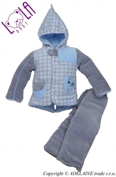 LOLA BABY Oteplený komplet - bundička a kalhoty DOGI - 74 (6-9m)
