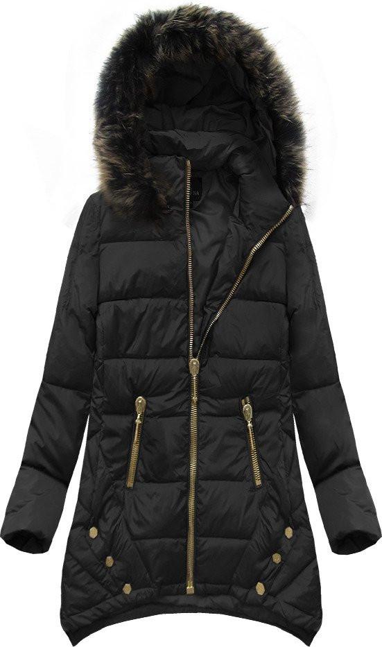 Černá prošívaná bunda s přírodní péřovou výplní (1412) - Černá/S (36)