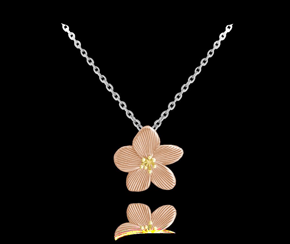 Rose gold rozkvetlý stříbrný náhrdelník MINET FLOWERS