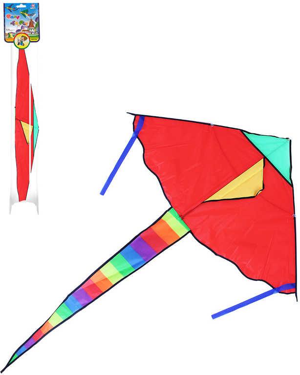 Drak létající nylonový 120x70cm jednošňůrový duhový ocas
