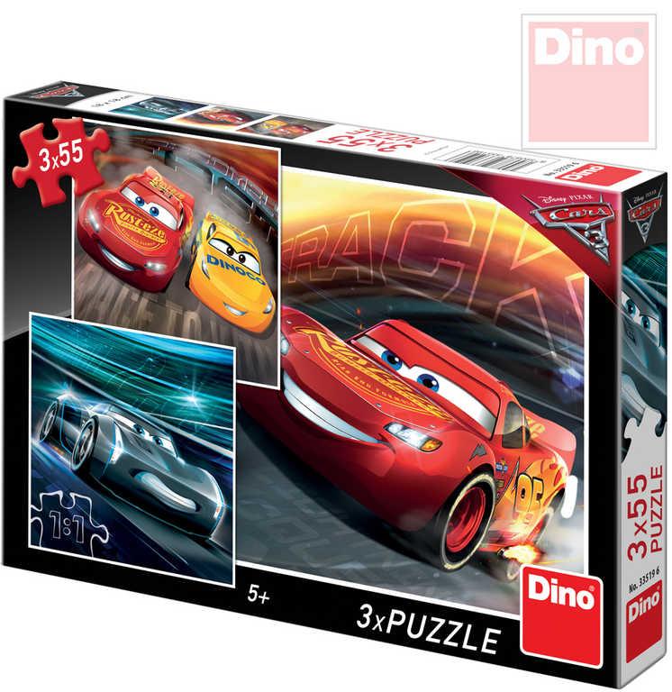 DINO Puzzle Auta 3 (Cars) Trénink 18x18cm skládačka 3x55 dílků 3v1 v krabici
