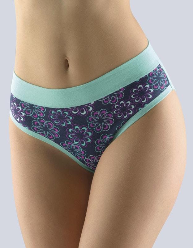 GINA dámské kalhotky klasické, širší bok, šité, s potiskem Disco XII 10182P - peprmint purpurová - Peprmint purpurová 42/44