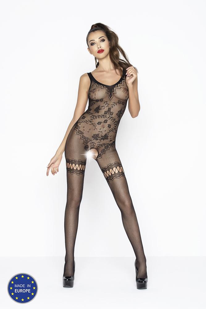 Sexy černý catsuit s otvorem v rozkroku a krajkovým vzorem - BS045-univerzální