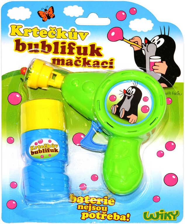 KRTEK Bublifuk mačkací pistolka Krteček 60ml dětský bublifukovač 2 barvy plast