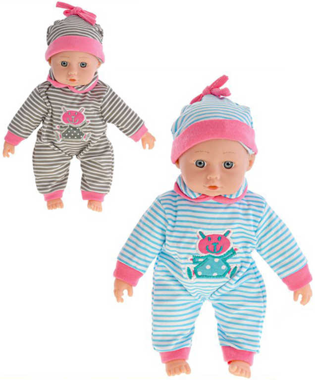Baby miminko panenka 26cm pruhovaný obleček měkké tělíčko 2 barvy