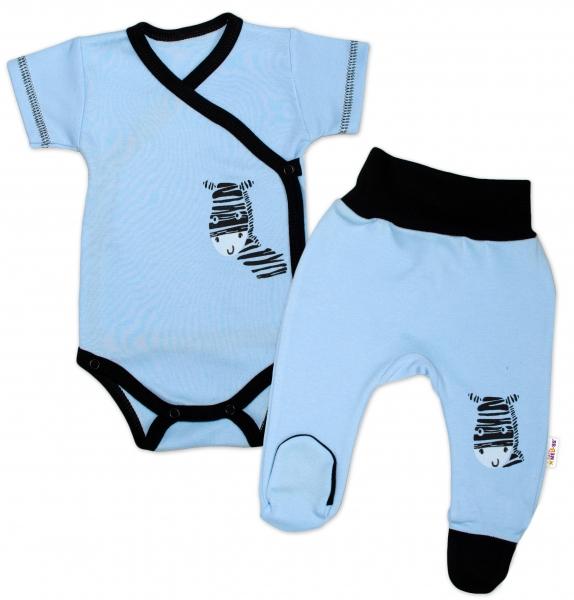 Baby Nellys 2-dílná sada body kr. rukáv + polodupačky, modrá