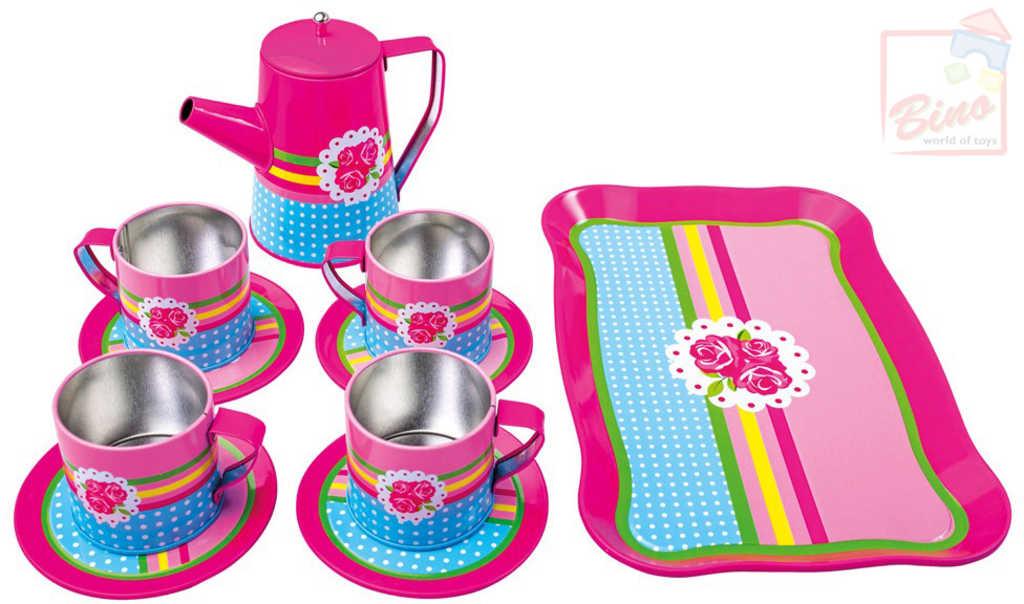 BINO Kávový servis dětský růžový set 11ks s tácem a konvicí kov