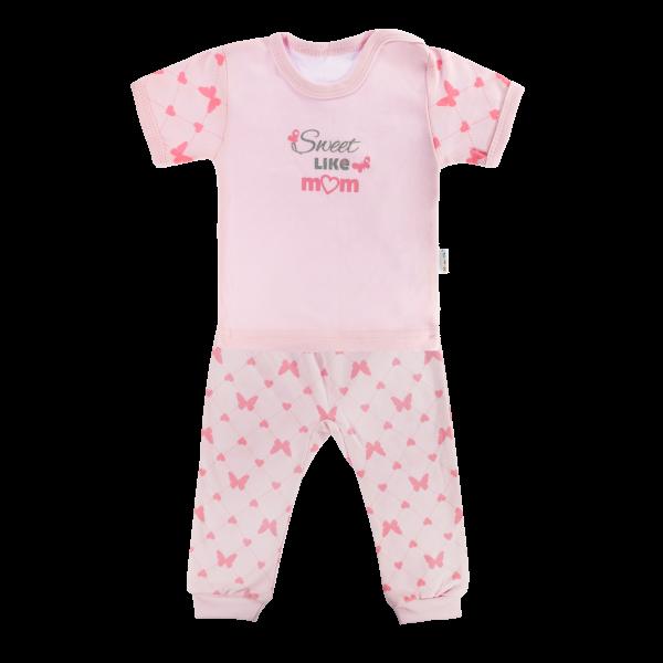 Bavlněné pyžamko Mamatti Motýlek srdíčko - krátký rukáv - růžové, vel. 86 - 86 (12-18m)