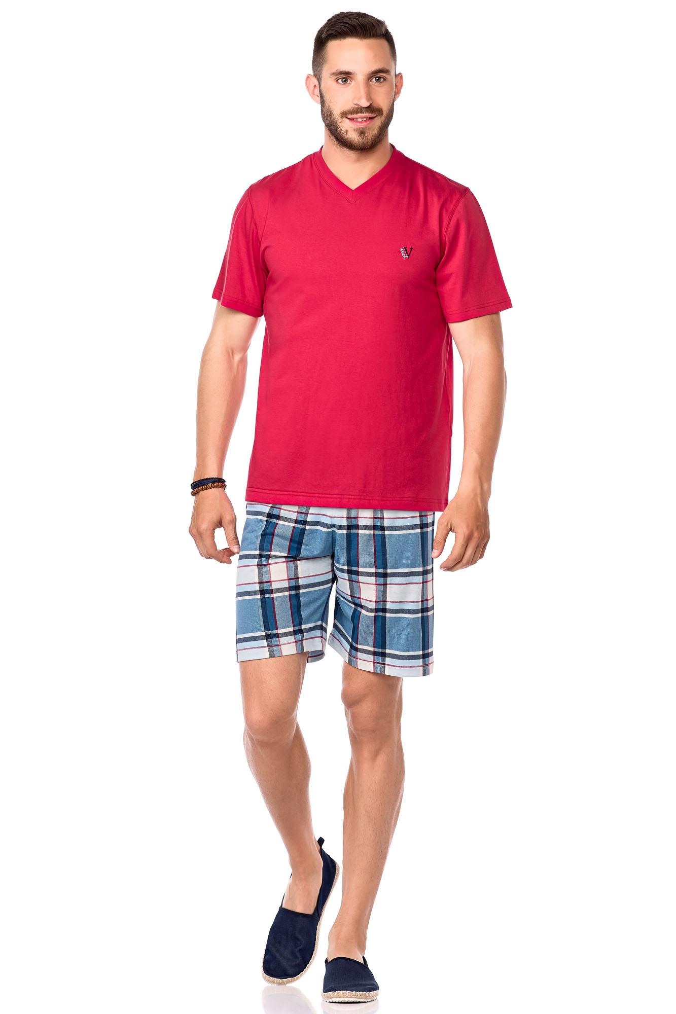 Pánské pyžamo 15-7004 Vamp - Červená-modrá/L