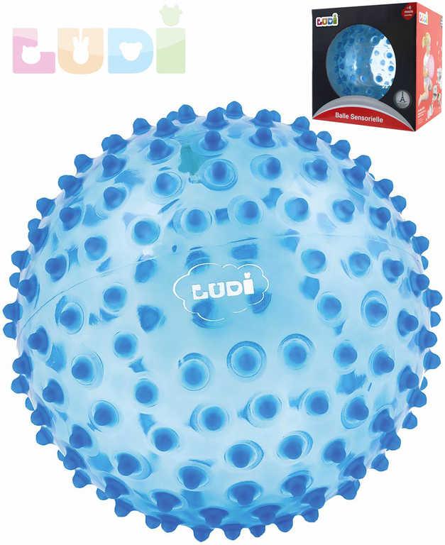 LUDI Baby míček senzorický modrý s výstupky relaxační balonek pro miminko