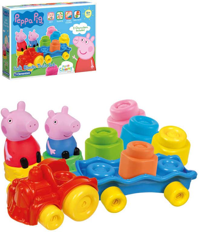 CLEMENTONI CLEMMY Baby vláček herní set s kostkami Peppa Pig
