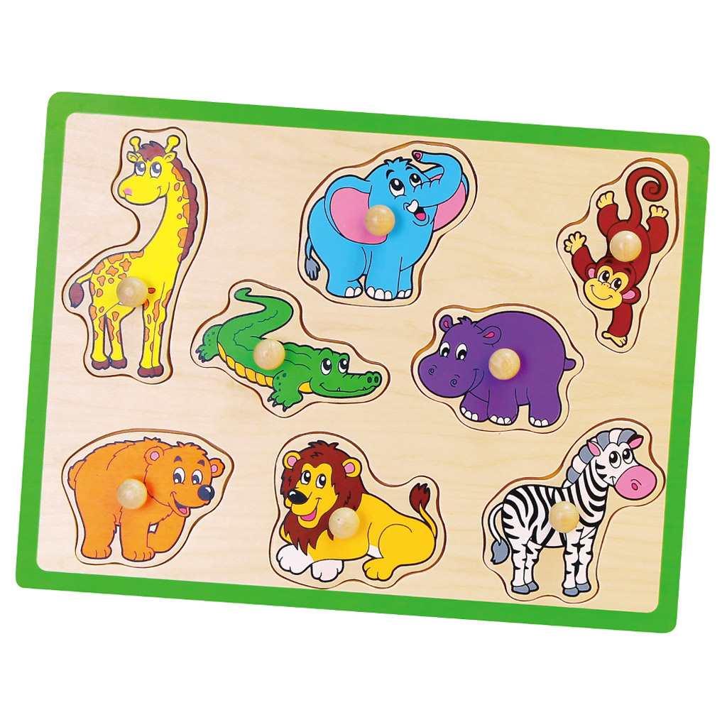 Dětské dřevěné puzzle s úchyty Viga - ZOO - multicolor