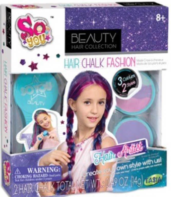SO YOU Křídy dětské barevné na vlasy set v krabici